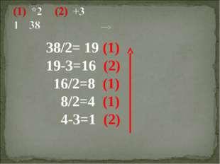 38/2= 19 (1) 19-3=16 (2) 16/2=8 (1) 8/2=4 (1) 4-3=1 (2)