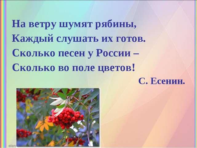 На ветру шумят рябины, Каждый слушать их готов. Сколько песен у России – Скол...