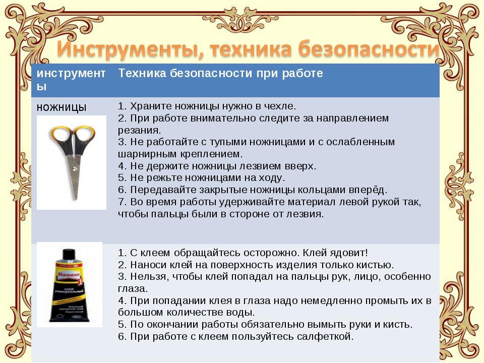 инструментыТехника безопасности при работе ножницы1. Храните ножницы нужно...