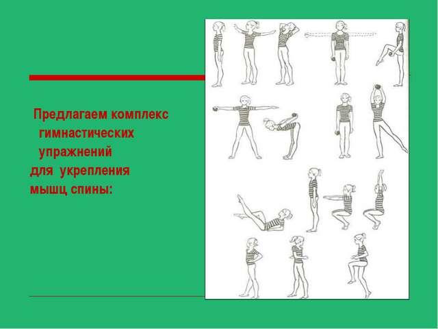 Предлагаем комплекс гимнастических упражнений для укрепления мышц спины: