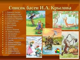 Список басен И.А. Крылова 1.Ворона и Лисица 2.Мартышка и Очки 3.Лебедь, Щу