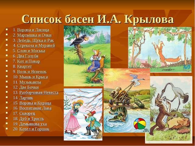 Список басен И.А. Крылова 1.Ворона и Лисица 2.Мартышка и Очки 3.Лебедь, Щу...