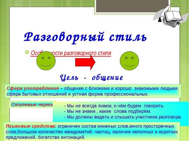 Разговорный стиль Особенности разговорного стиля Агафонова Е.Е. Цель - общени...