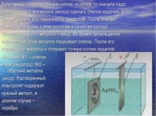 На схеме №1 – слепок изделия(катод), №2 – пластина металла (анод). Растворенн