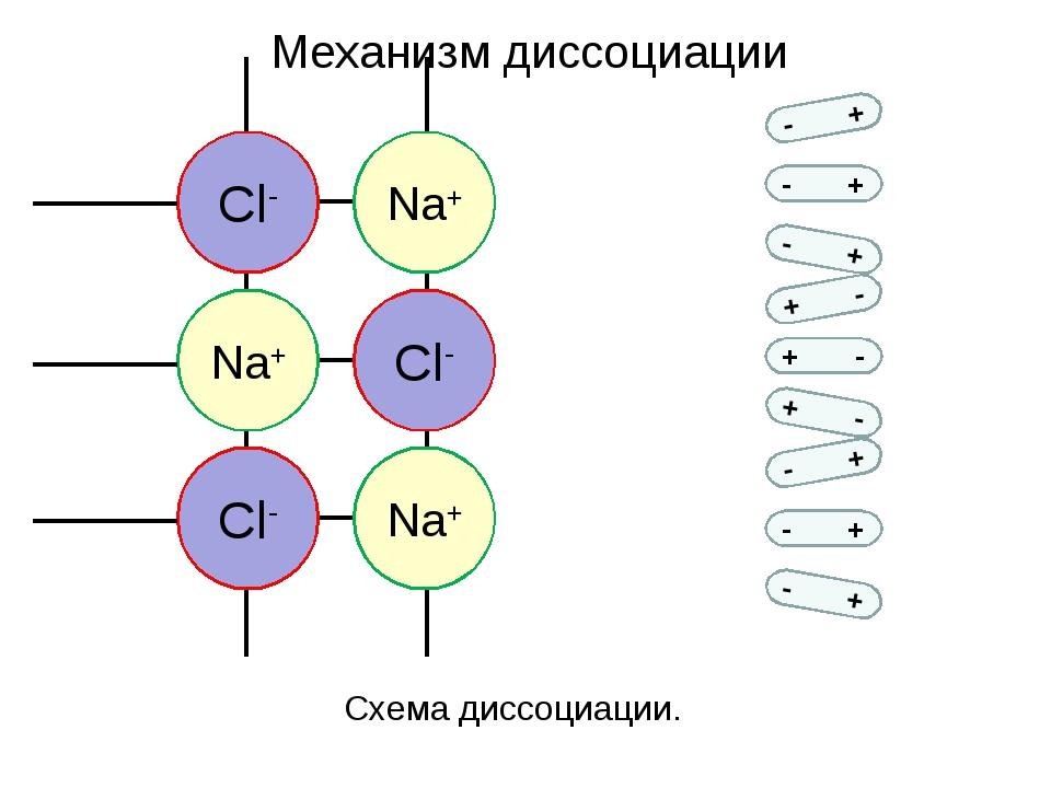 - + - + - + + - + - + - - + - + - + Механизм диссоциации Схема диссоциации.