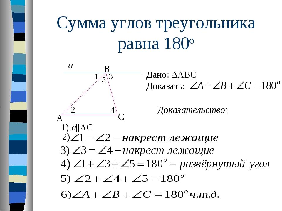 Сумма углов треугольника равна 180о А В С Дано: ΔАВС Доказать: Доказательство...