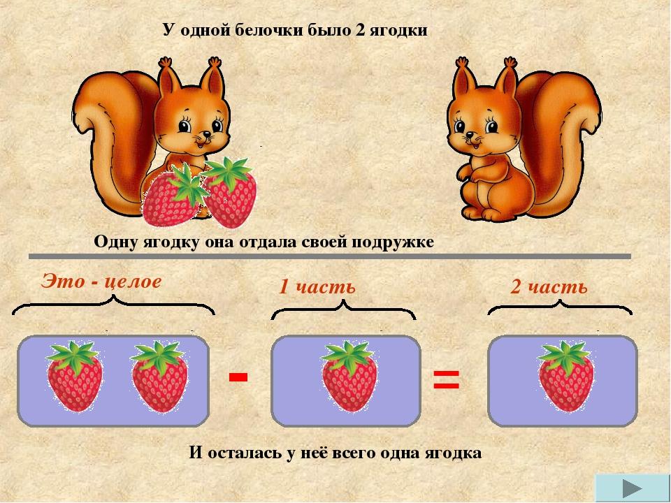 У одной белочки было 2 ягодки Одну ягодку она отдала своей подружке И осталас...