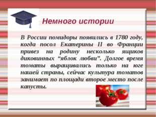 Немного истории В России помидоры появились в 1780 году, когда посол Екатерин