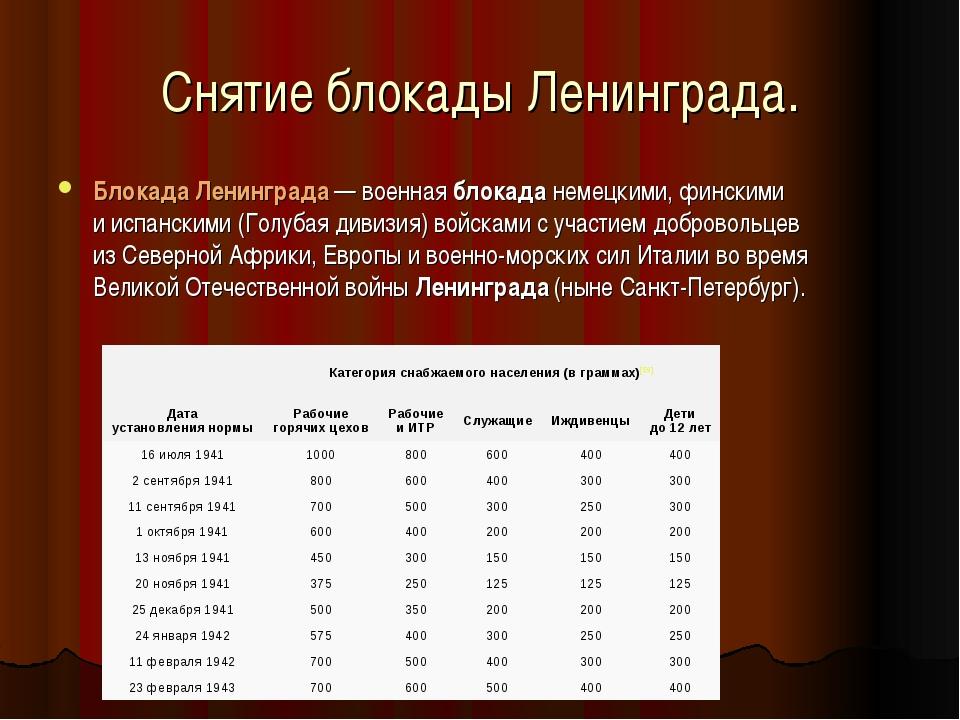 Снятие блокады Ленинграда. БлокадаЛенинграда— военнаяблокаданемецкими, фи...