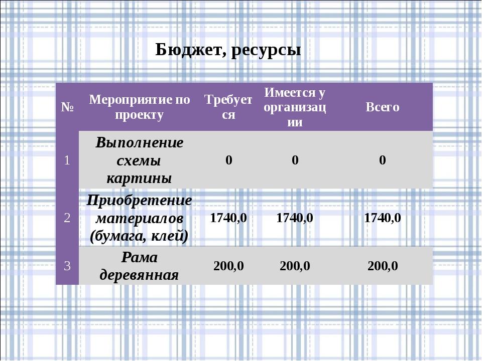 Бюджет, ресурсы №Мероприятие по проектуТребуетсяИмеется у организацииВсег...