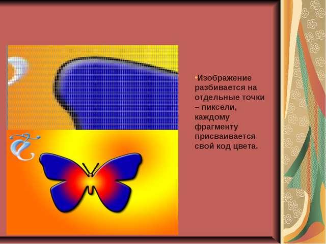 Изображение разбивается на отдельные точки – пиксели, каждому фрагменту присв...