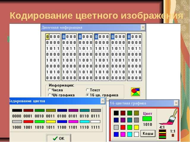 Кодирование цветного изображения палитра
