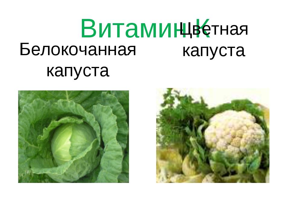 Витамин К Белокочанная капуста Цветная капуста