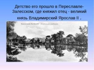 Детство его прошло в Переславле-Залесском, где княжил отец - великий князь Вл