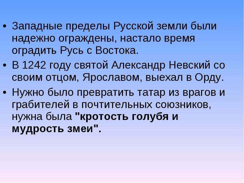 Западные пределы Русской земли были надежно ограждены, настало время оградить...