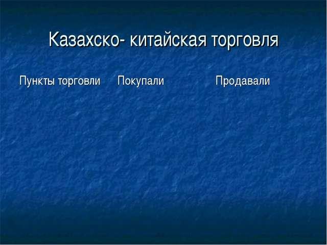 Казахско- китайская торговля