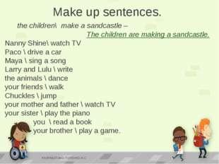 the children\ make a sandcastle – The children are making a sandcastle. Nann