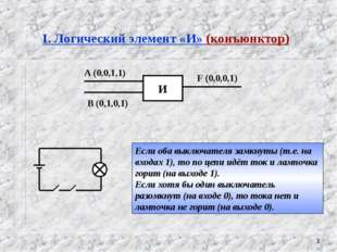 * I. Логический элемент «И» (конъюнктор) Если оба выключателя замкнуты (т.е.
