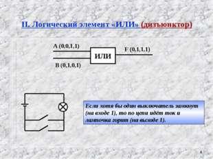 * II. Логический элемент «ИЛИ» (дизъюнктор) Если хотя бы один выключатель зам