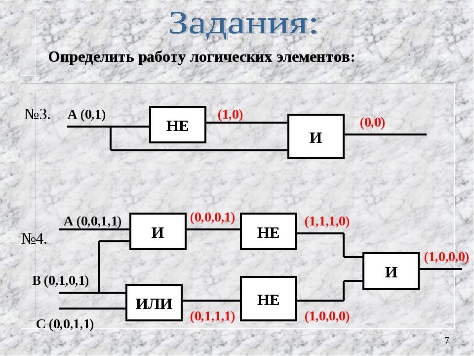 * Определить работу логических элементов: НЕ А (0,1) (1,0) И (0,0) №3. №4. И...