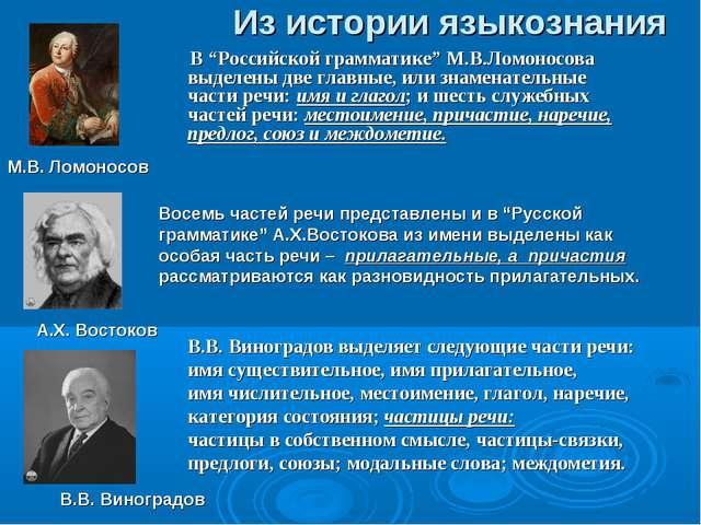 """Из истории языкознания В """"Российской грамматике"""" М.В.Ломоносова выделены две..."""