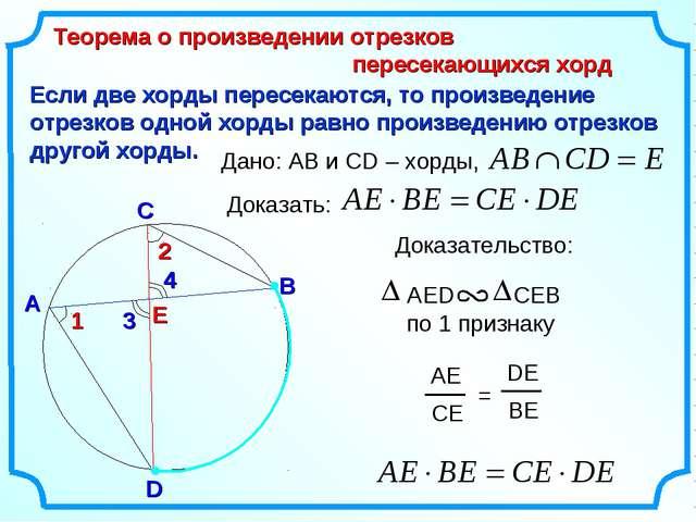 Если две хорды пересекаются, то произведение отрезков одной хорды равно произ...