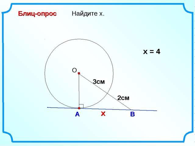 Найдите х. О А В Блиц-опрос х = 4 2см 3см х 3см