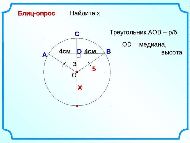 3 D Найдите х. О В А С Блиц-опрос Треугольник АОВ – р/б 4см х 4см 5 OD – меди...