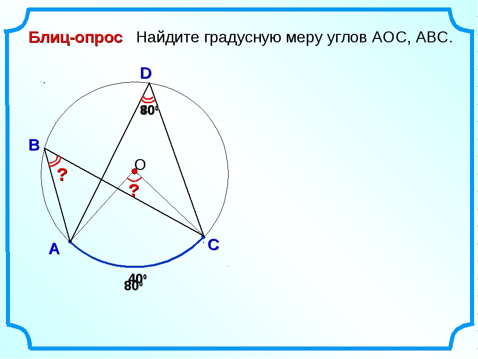 Блиц-опрос А D В Найдите градусную меру углов АОC, АВС. 400 О С 800 400 800 ? ?