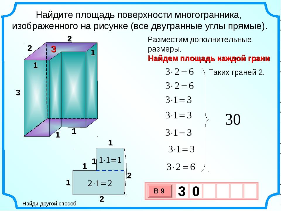 3 Найдите площадь поверхности многогранника, изображенного на рисунке (все дв...