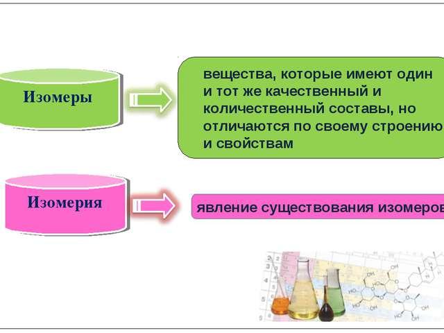 Изомеры Изомерия вещества, которые имеют один и тот же качественный и колич...