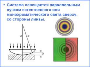 Система освещается параллельным пучком естественного или монохроматического с