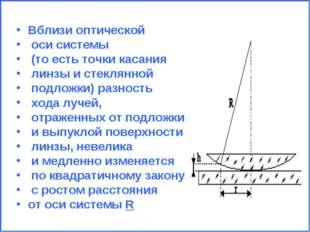 Вблизи оптической оси системы (то есть точки касания линзы и стеклянной подло