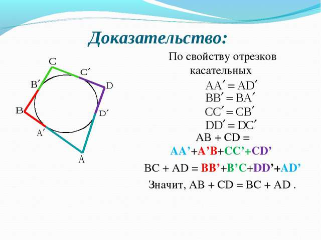 По свойству отрезков касательных АВ + СD = АА'+А'В+СС'+СD' BC + AD = BB'+B'C+...
