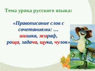 Тема урока русского языка: «Правописание слов с сочетаниями: … шишка, жираф,
