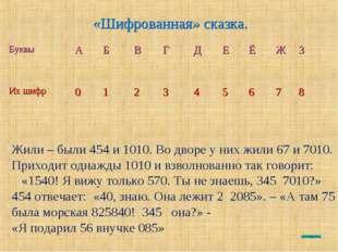 «Шифрованная» сказка. Жили – были 454 и 1010. Во дворе у них жили 67 и 7010.