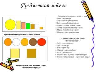 Предметная модель Условные обозначения к сказке «Репка» 1. Репка – жёлтый кру