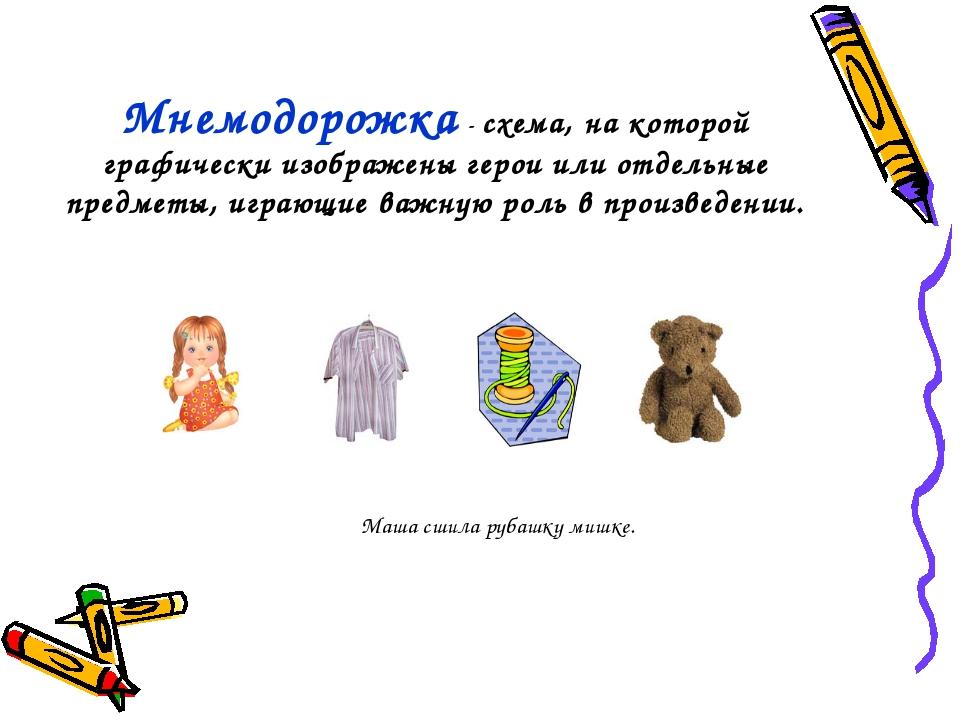Мнемодорожка - схема, на которой графически изображены герои или отдельные пр...
