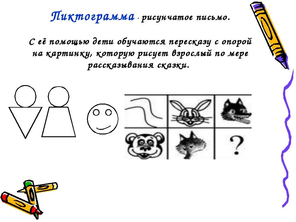 Пиктограмма - рисунчатое письмо. С её помощью дети обучаются пересказу с опор...