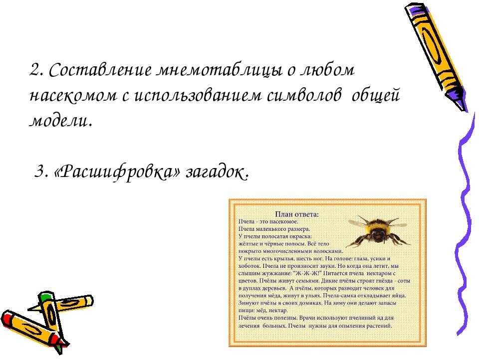2. Составление мнемотаблицы о любом насекомом с использованием символов общей...