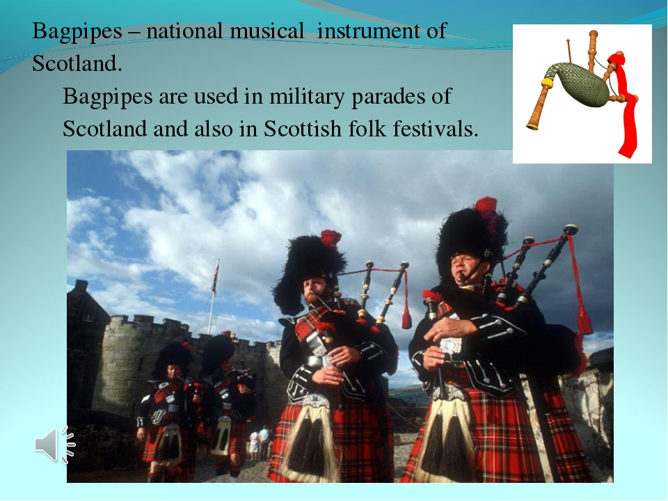 Bagpipes – national musical instrument of Scotland. Bagpipes are used in mil...
