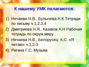 К нашему УМК полагаются: Нечаева Н.В., Булычева Н.К Тетради по письму ч.1,2,3