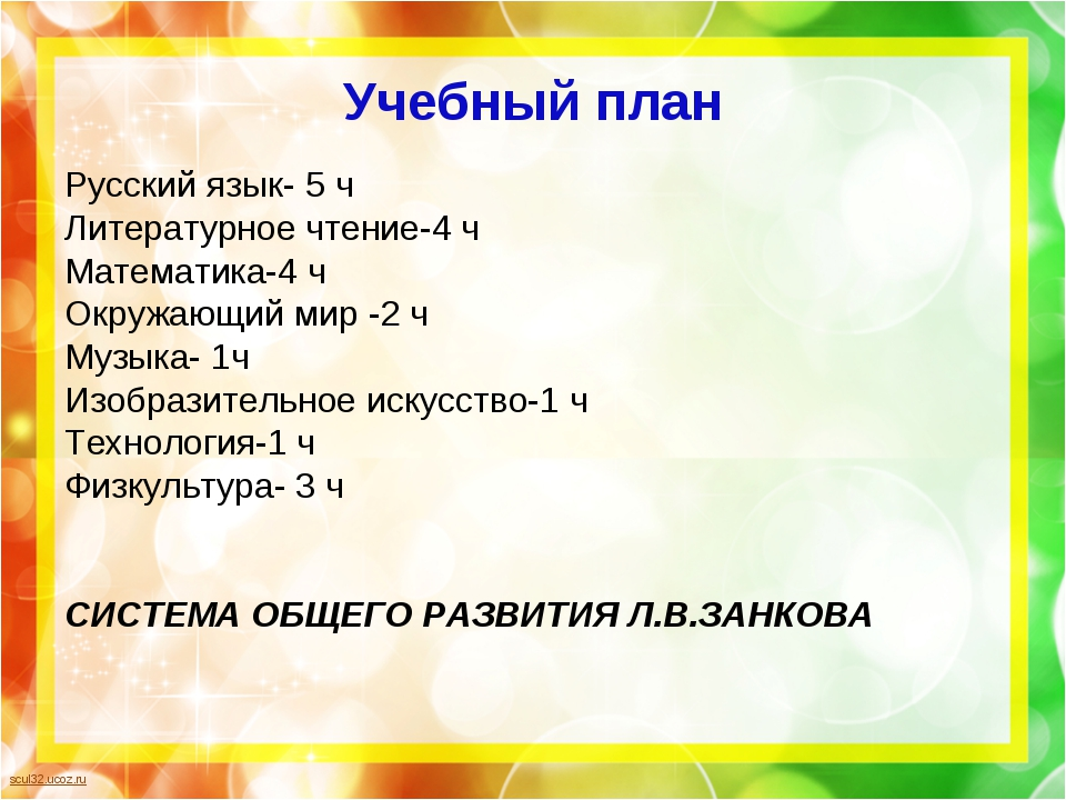 Учебный план Русский язык- 5 ч Литературное чтение-4 ч Математика-4 ч Окружаю...