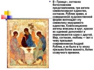 В «Троице», согласно богословским представлениям, три ангела символизируют ед