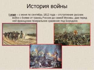 История войны I этап – с июня по сентябрь 1812 года – отступление русских вой