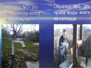 образец №1- это проба воды взята из скважины Образец №2- это проба воды взят