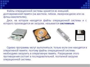Файлы операционной системы хранятся во внешней, долговременной памяти (на жес