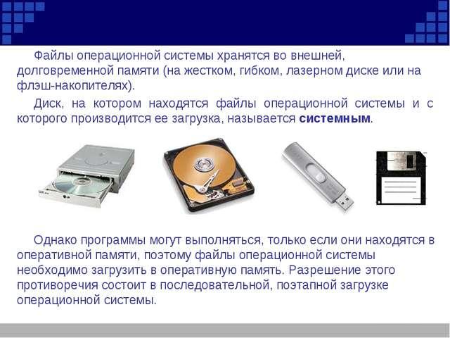 Файлы операционной системы хранятся во внешней, долговременной памяти (на жес...