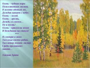 Осень – чудная пора: Пожелтевшая листва, В золото одетый лес, Дождик капает с