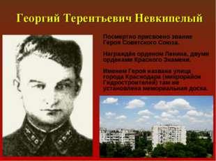 Георгий Терентьевич Невкипелый Посмертно присвоено звание Героя Советского С